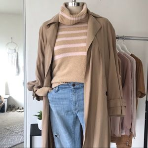 J.crew tan and pink turtle neck sweater.